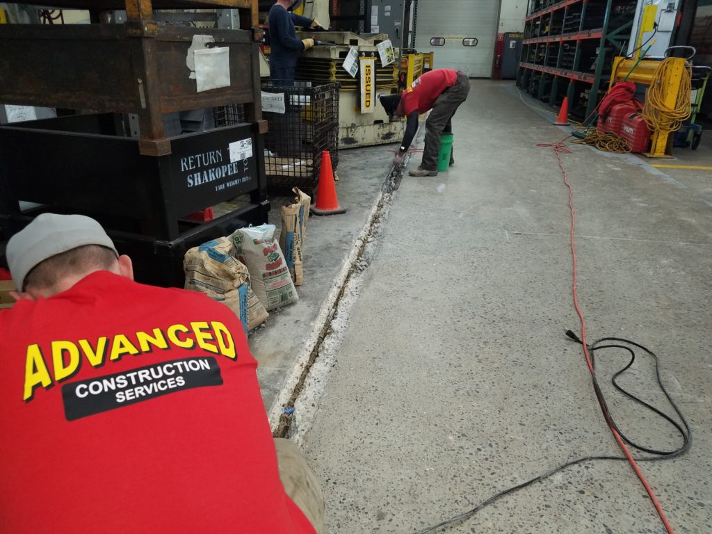 A picture showing dustless equipment is used to remove damaged floor areas.