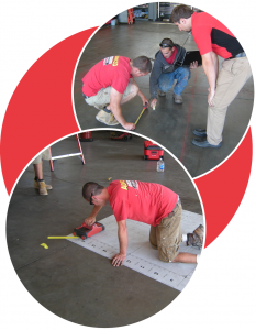 The Advanced Construction Services team inspecting a concrete floor.